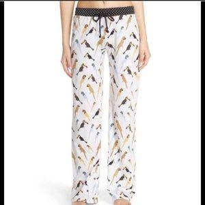 PJ Salvage Bird Print Pajama Pants Medium - White